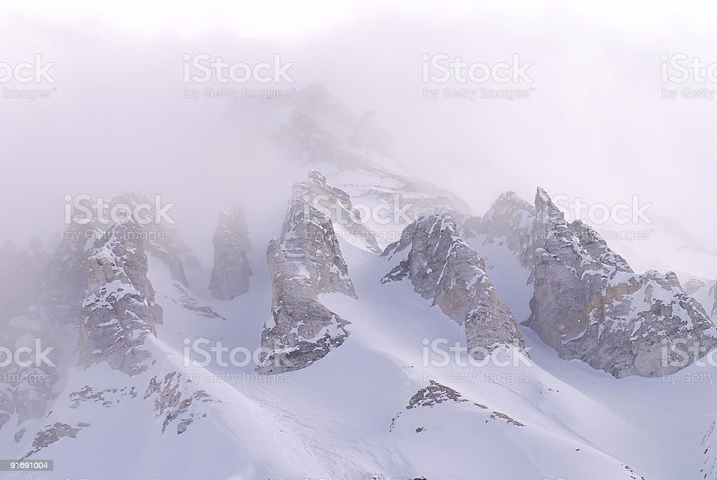 Mountain in a fog stock photo