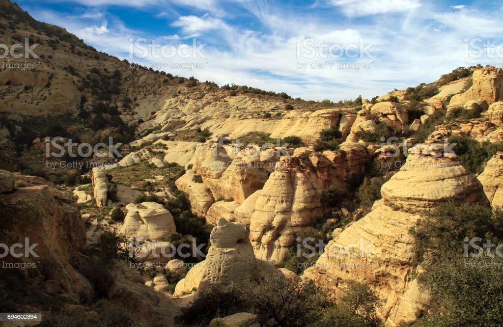 mountain in Dana Biosphere Reserve in jordan stock photo