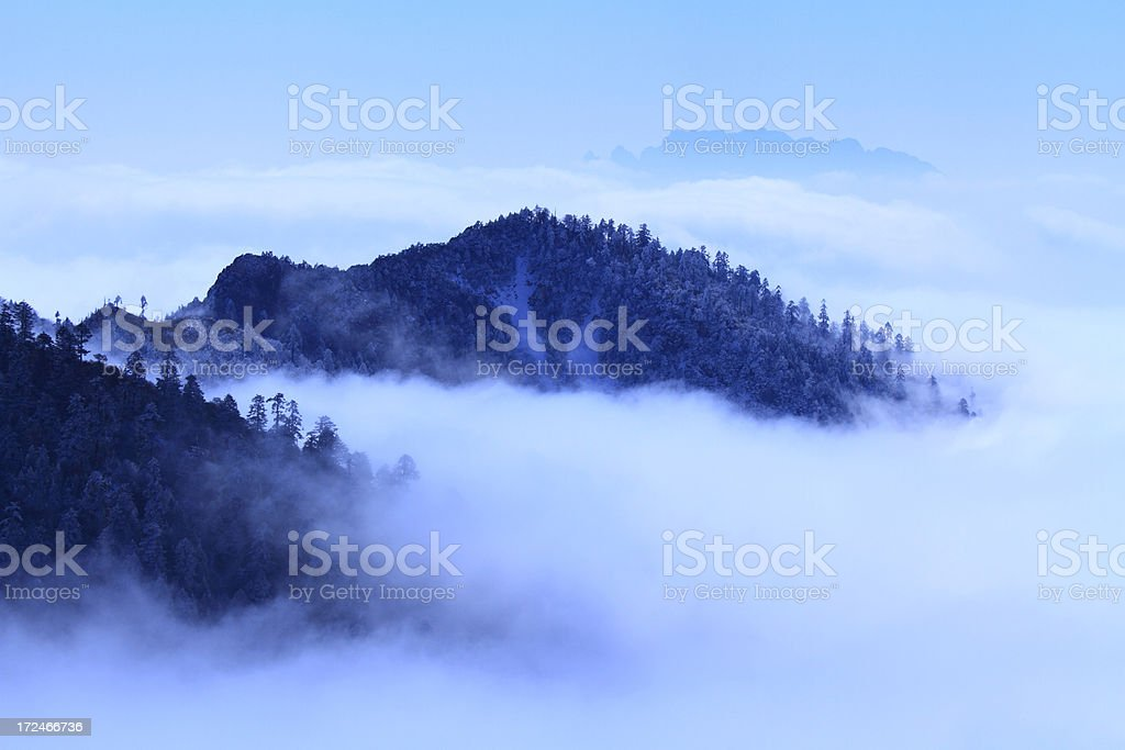 Mountain in fog royalty-free stock photo