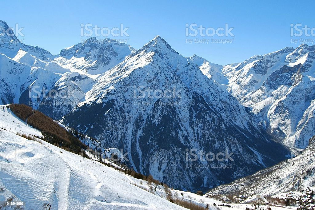 Mountain in the Alps, France stock photo