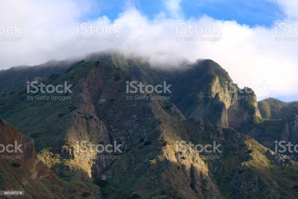 mountain in the sunlight stock photo