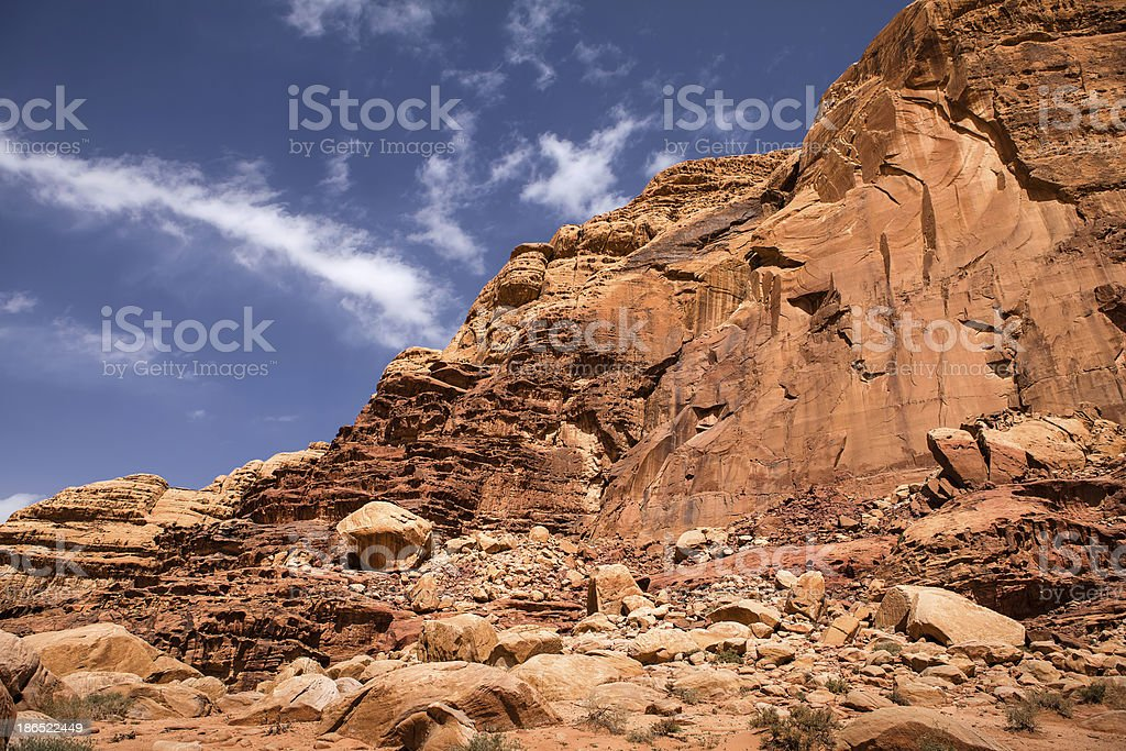 Mountain in Wadi Rum desert royalty-free stock photo