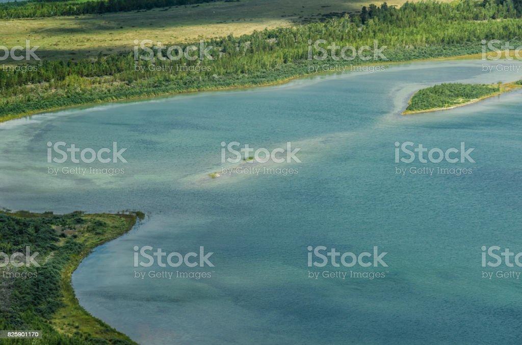 Mountain lake aerial view in Burabay National Nature Park Kazakhstan stock photo
