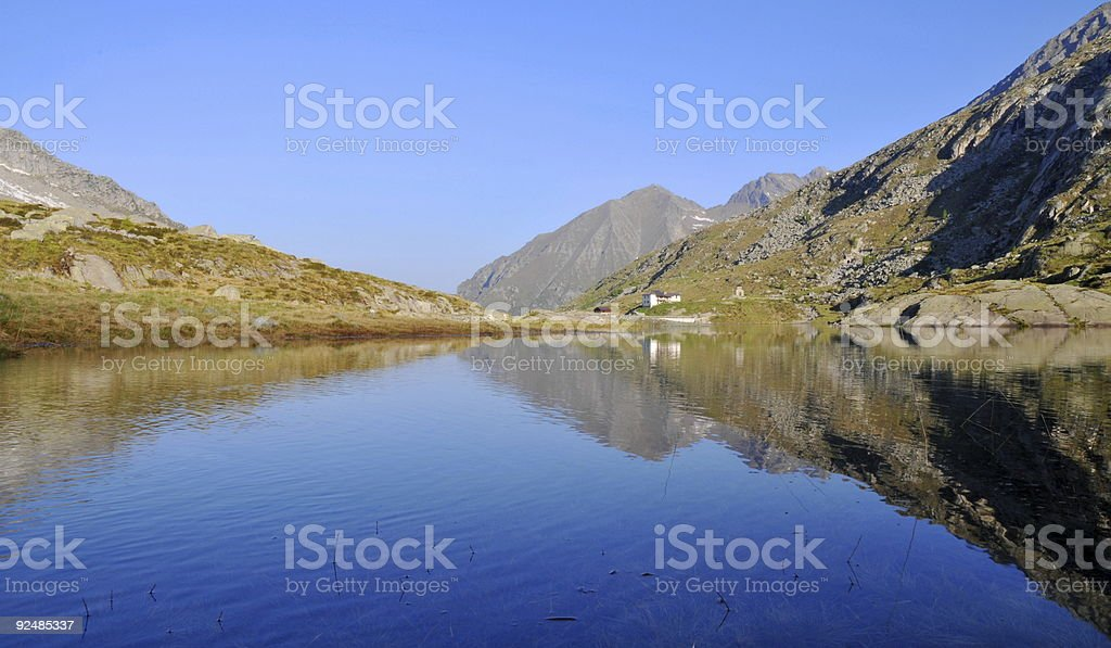 Mountain lake after dawn royalty-free stock photo