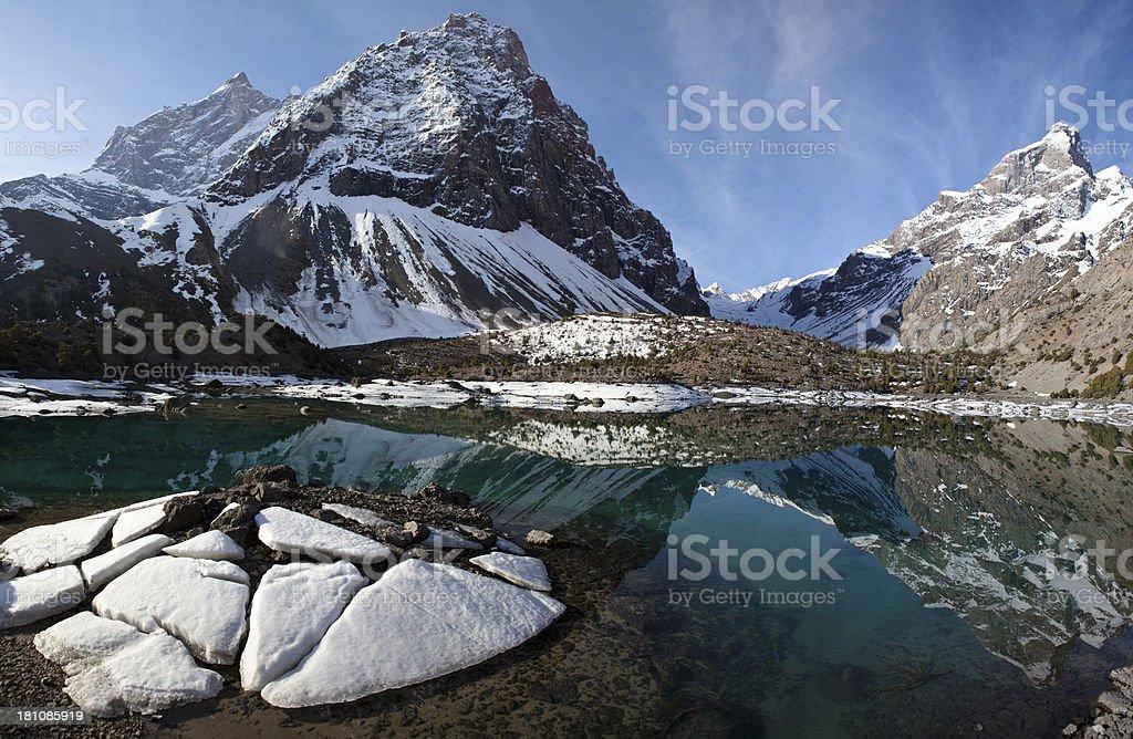 Mountain lake and ice stock photo