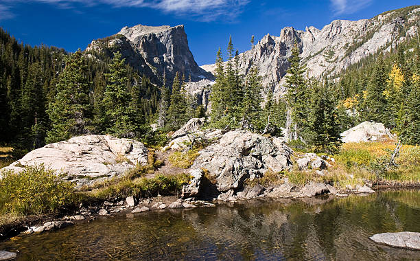 Mountain Lake and Rugged Peaks, Rocky Mountain National Park, Colorado stock photo