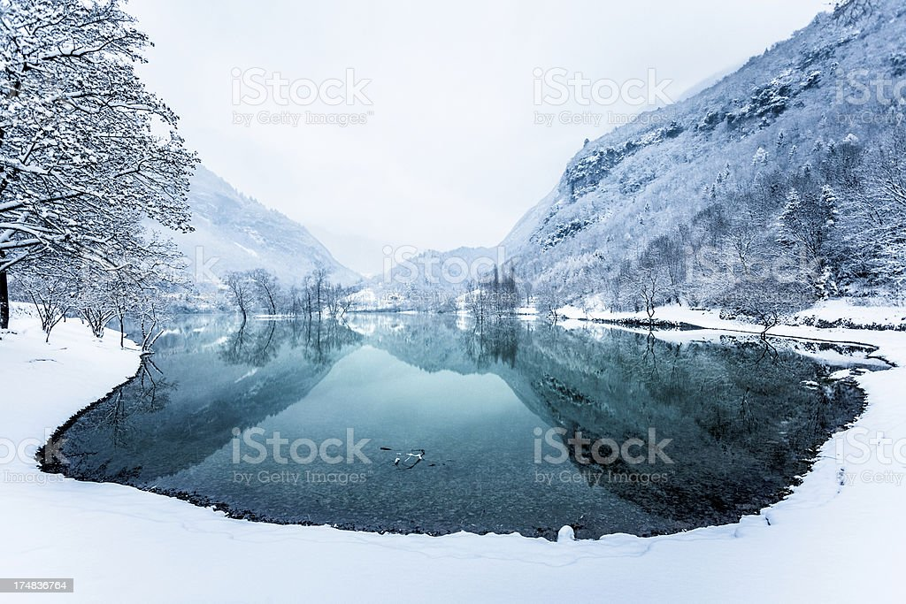 Mountain Lake and Snow, Winter Landscape royalty-free stock photo