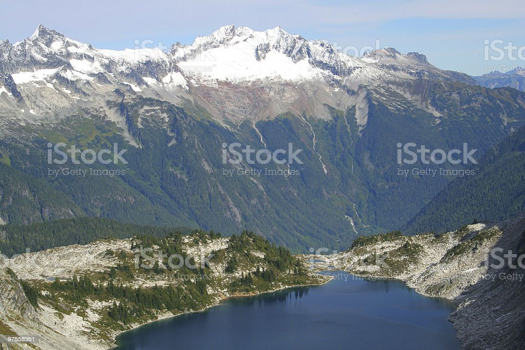 Mountain Lake and Snowy Peaks royalty-free stock photo