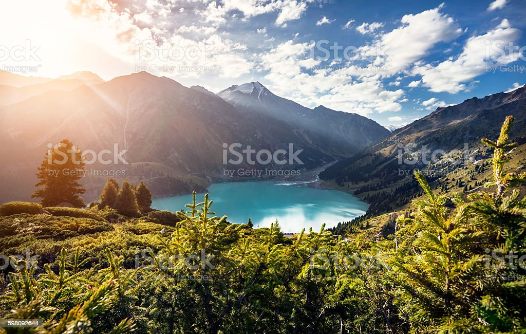 Mountain Lake at sunrise stock photo