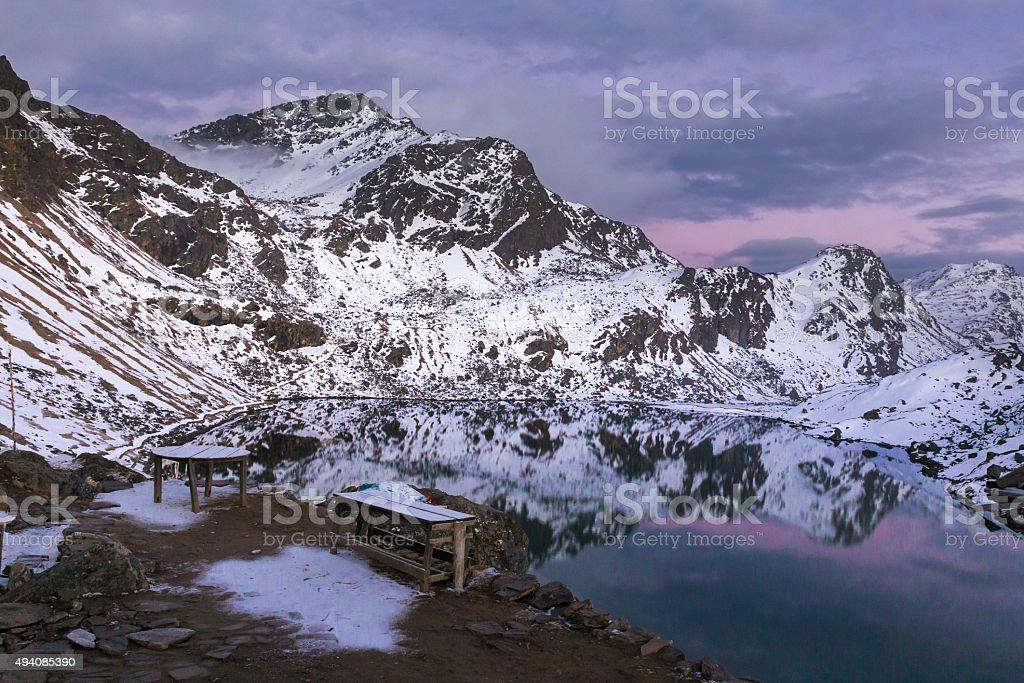 Mountain lake beautiful sunset, Gosaikunda Nepal. stock photo