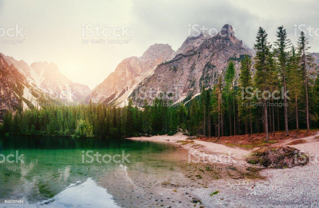 Mountain lake between by mountains stock photo