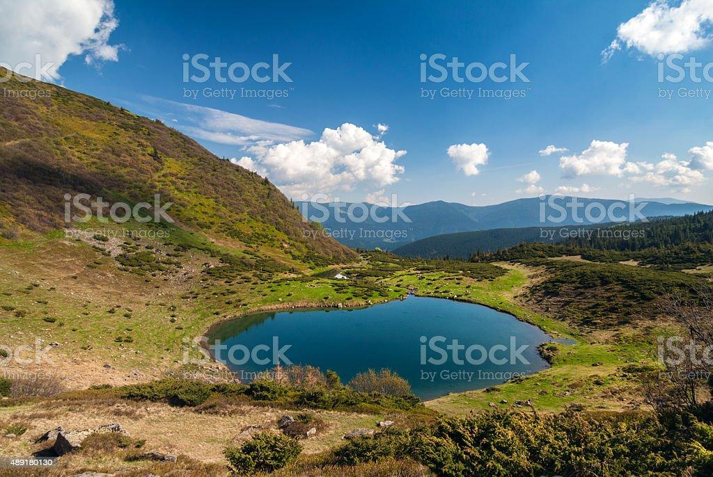 Mountain lake - Carpathians stock photo