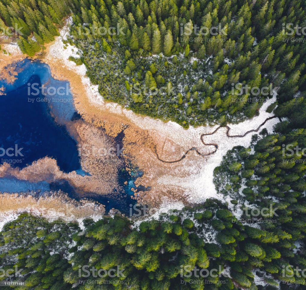 Mountain Lake From Above stock photo