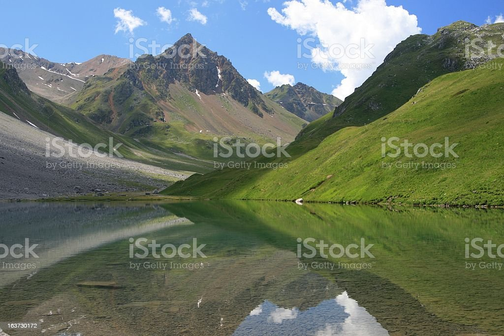 Mountain lake in Arosa, Switzerland royalty-free stock photo