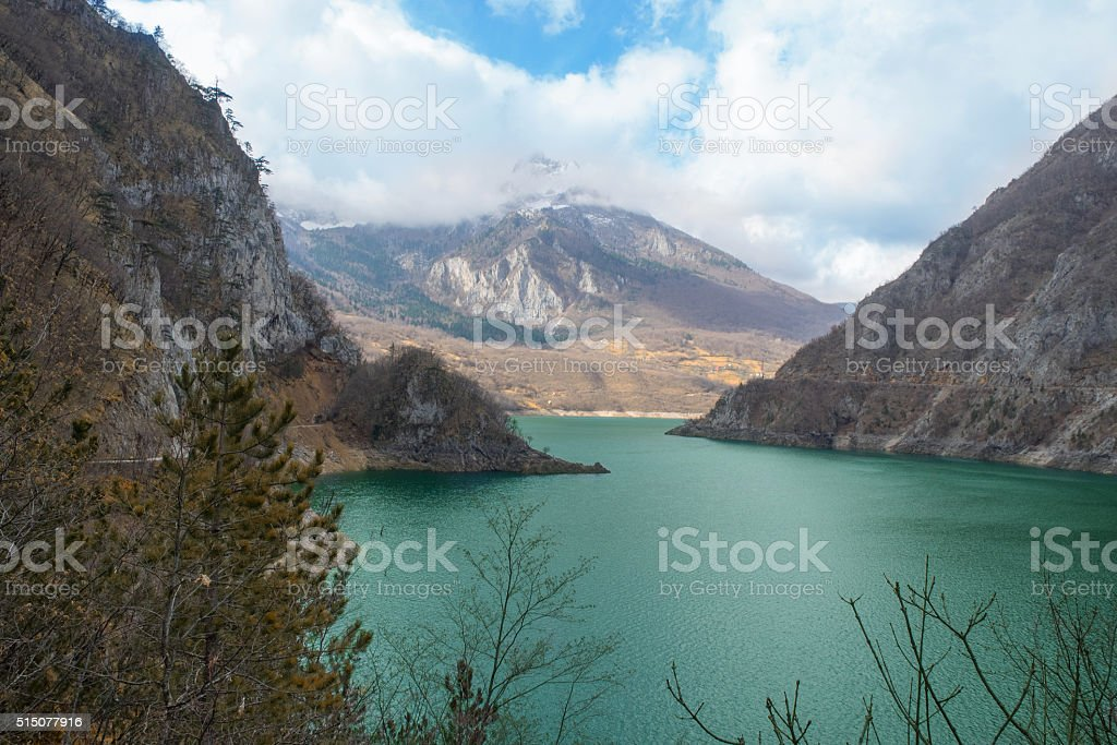 Mountain lake in autumn stock photo