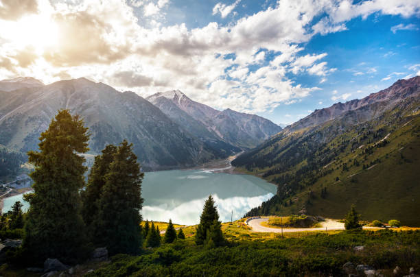 Mountain lake in Kazakhstan stock photo