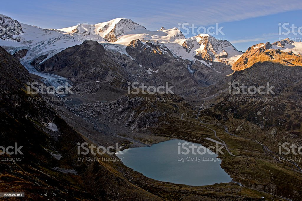 Mountain lake in Swiss Alps stock photo