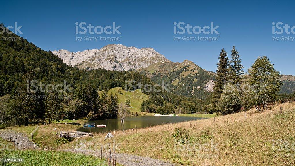 Mountain Lake in the Alps stock photo