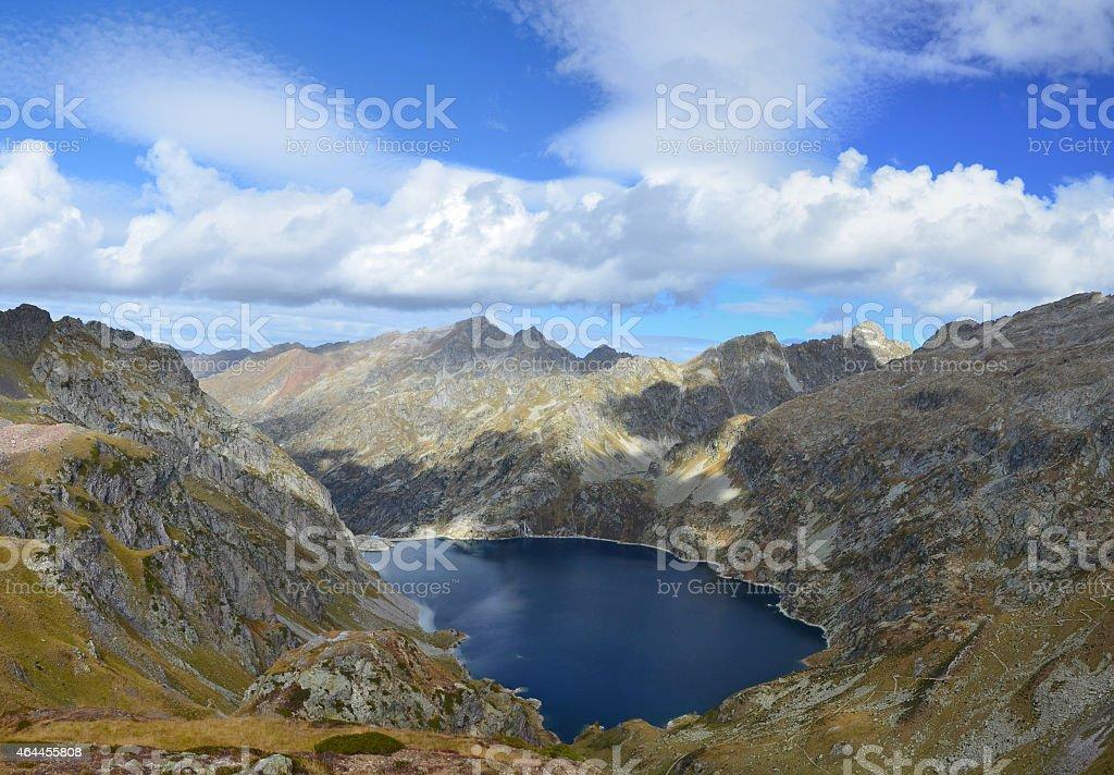 Mountain lake in the Atlantic Pyrenees, Bearn stock photo