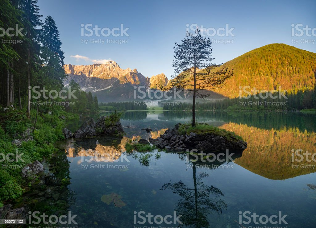 mountain lake in the Italian Alps stock photo