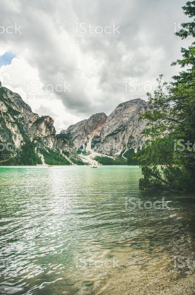 Mountain Lake in Valle di Braies in Italy stock photo