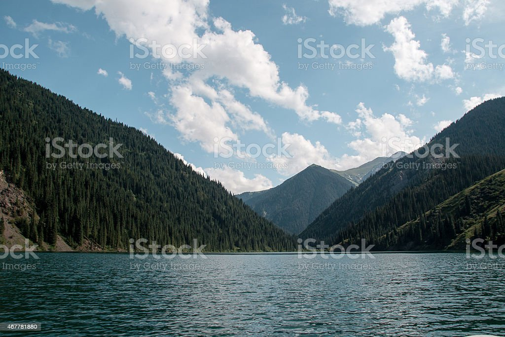 Mountain lake Kolsai in Kazakhstan. Alatau mountains. stock photo