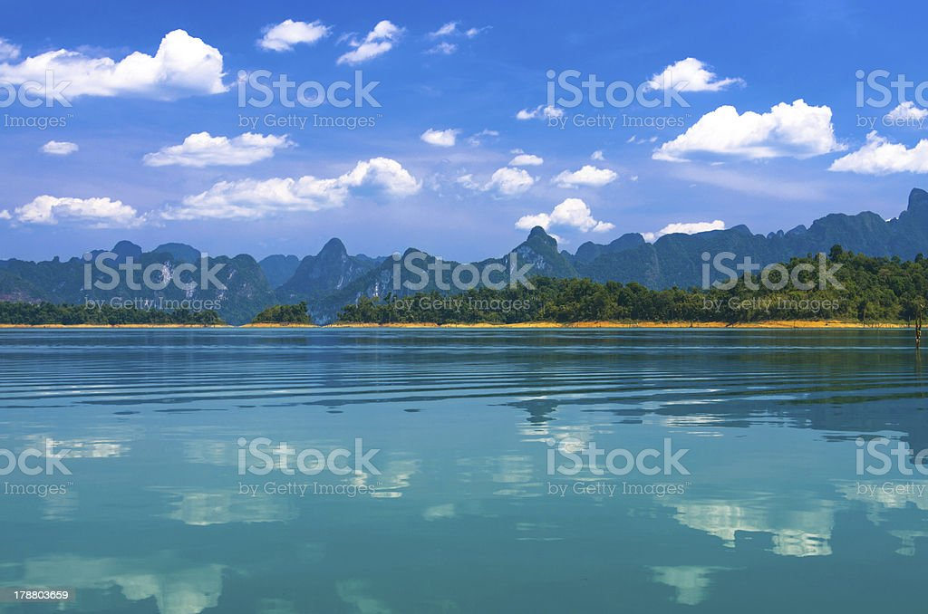 mountain lake landscape at Khaosok National Park, Ratchaprapha Dam, Thailand royalty-free stock photo