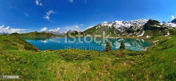180 degrees panorama of lake Trubsee in Engelberg, Switzerland