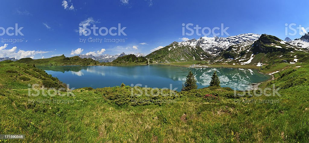Mountain lake panorama, Engelberg, Switzerland stock photo