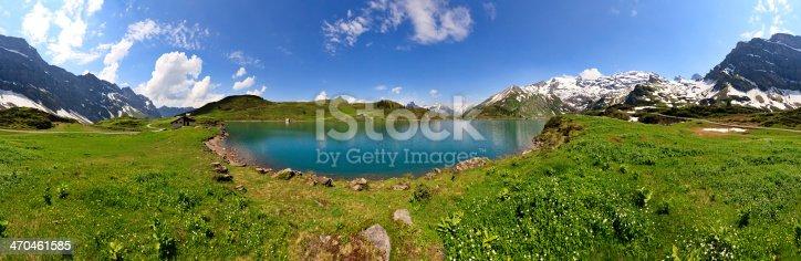 360 degrees panorama of lake Trubsee in Engelberg, Switzerland