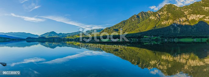 panoramic view of the Hallstatt mountain lake, Austria