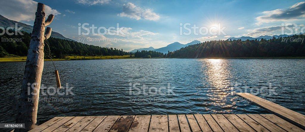 Mountain lake Plunge wood stock photo