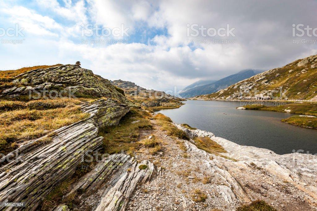 mountain lake san bernardino, switzerland stock photo