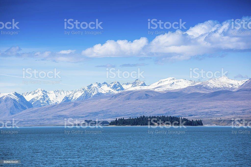 Mountain Lake, South Island, New Zealand stock photo