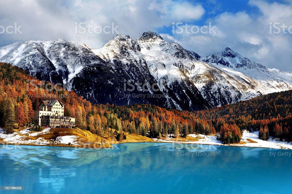 Mountain lake, St. Moritz, Switzerland stock photo