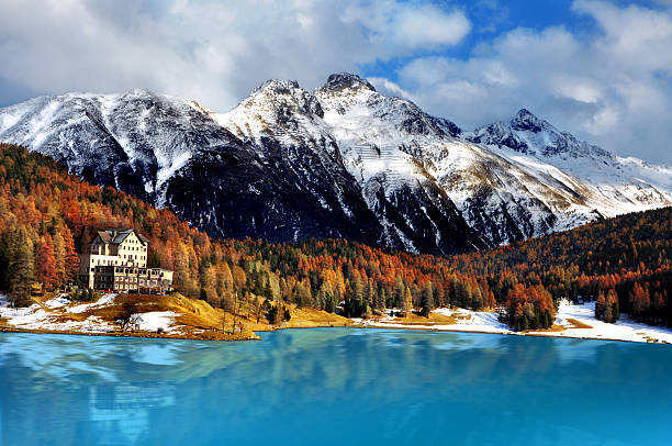 Mountain lake, St. Moritz, Switzerland stock photo
