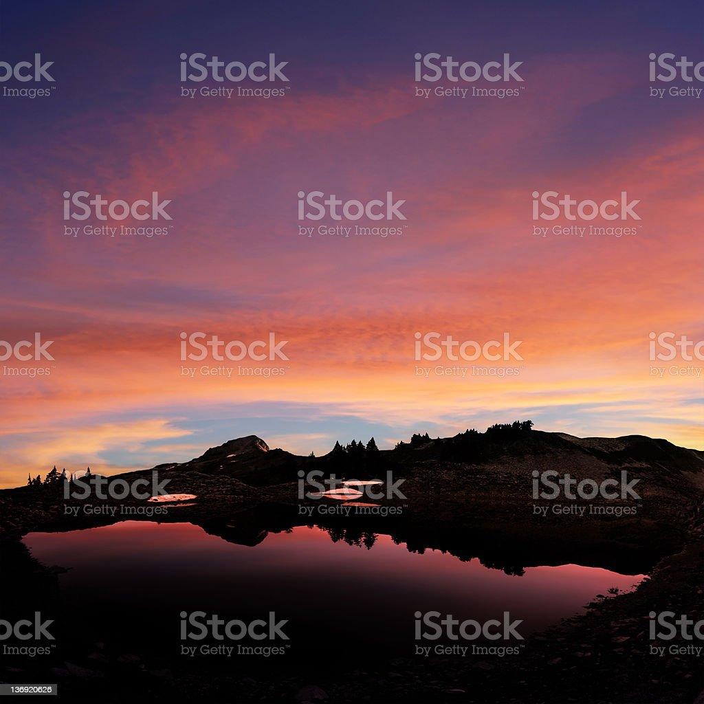XL mountain lake sunset royalty-free stock photo