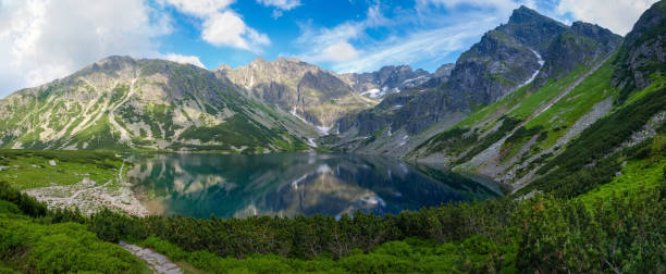 Mountain lake surrounded by craggy ridges in Tatra Mountains stock photo