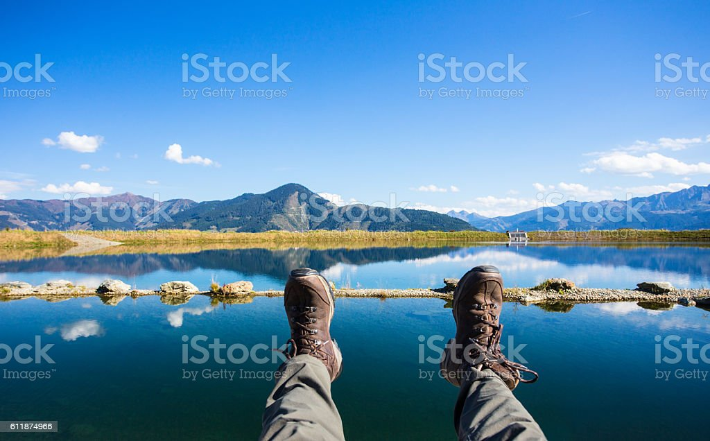 Mountain lake vacation stock photo
