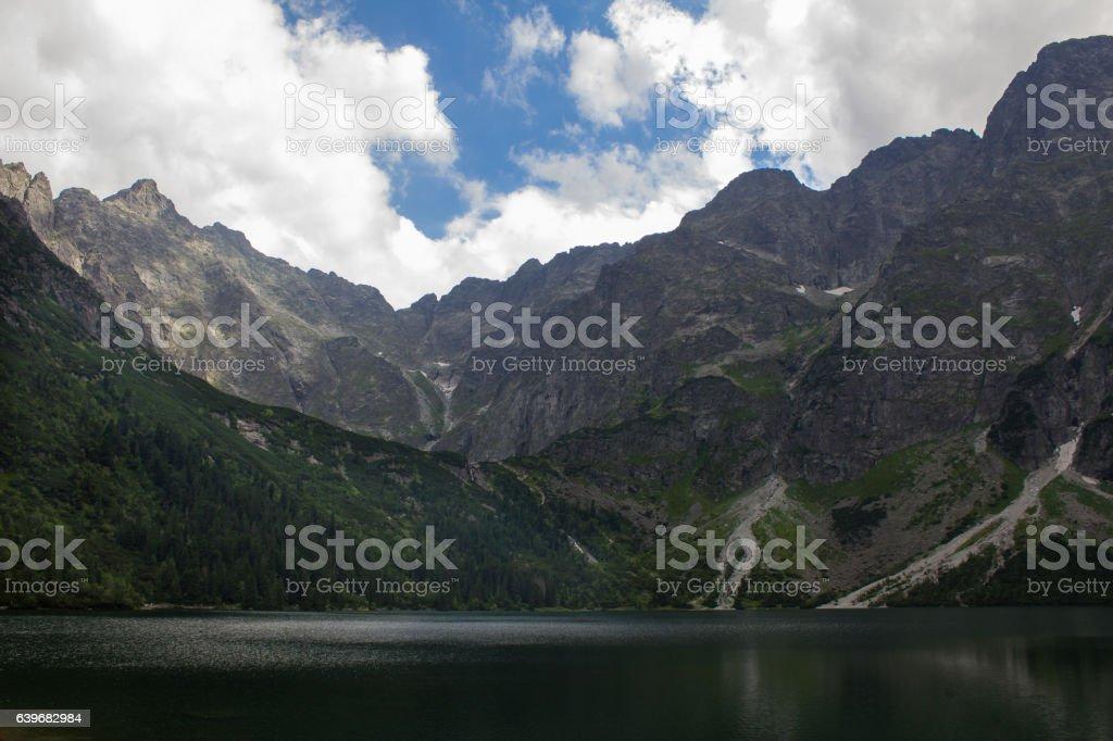 Mountain lake, view of the mountains stock photo
