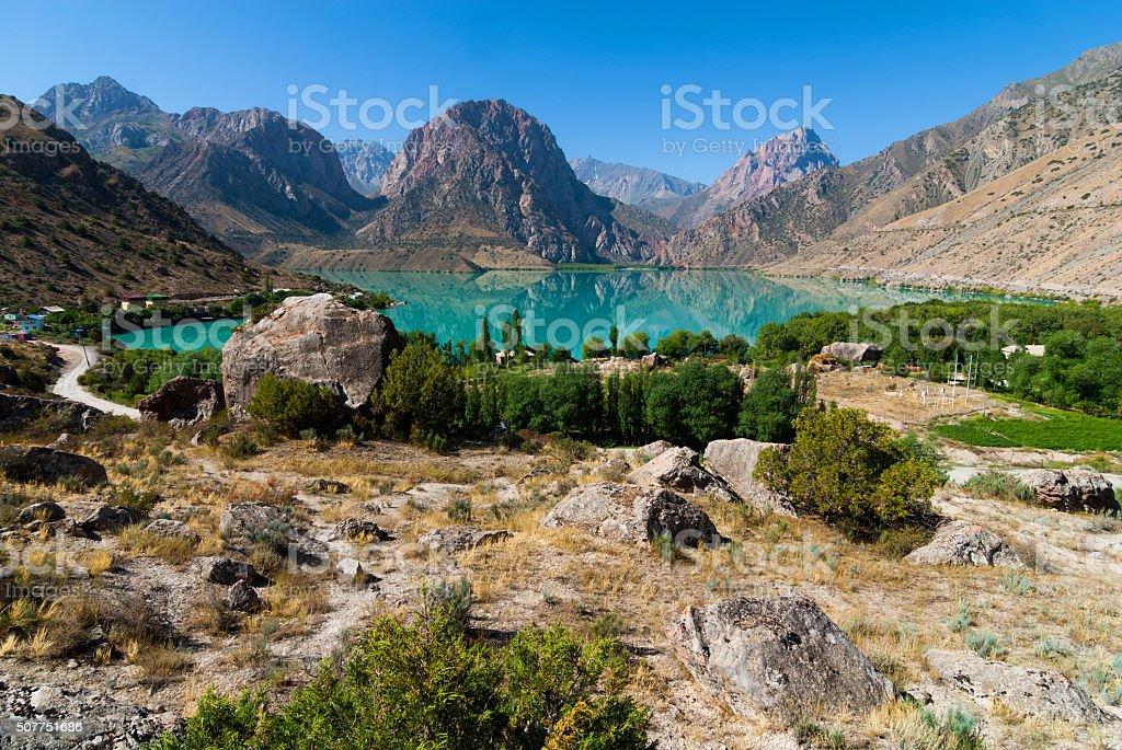 Mountain lake view stock photo