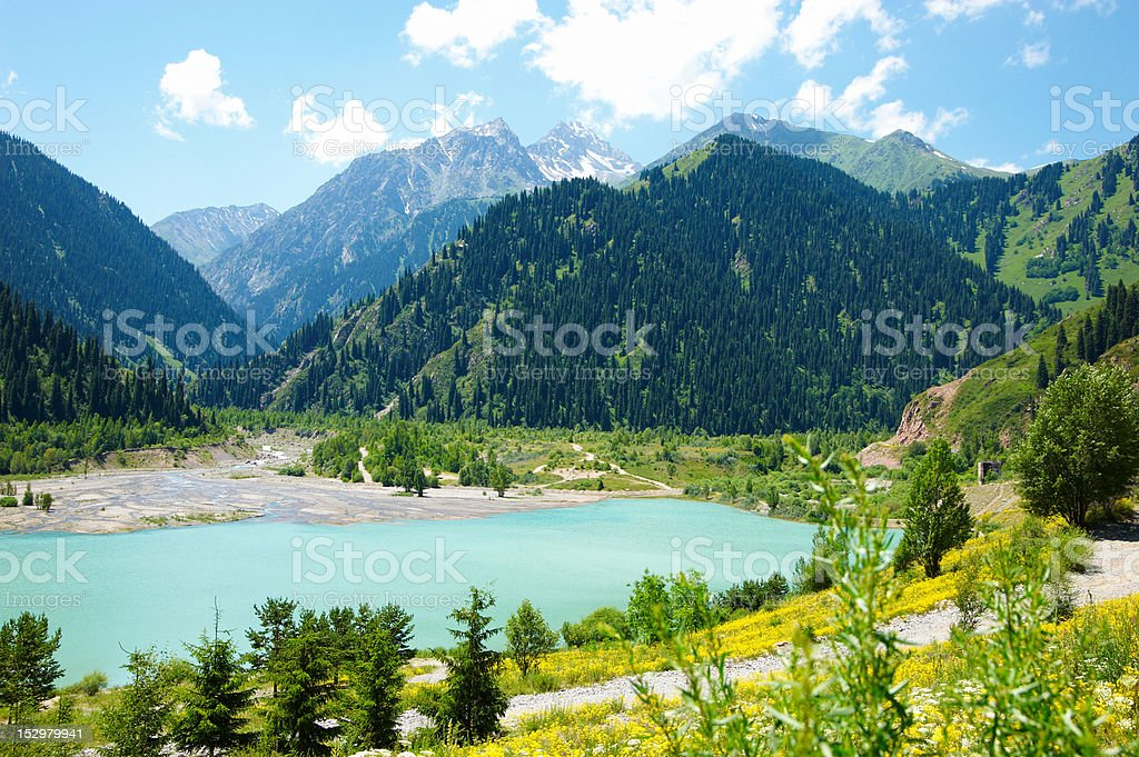 Mountain lake with an arbor royalty-free stock photo