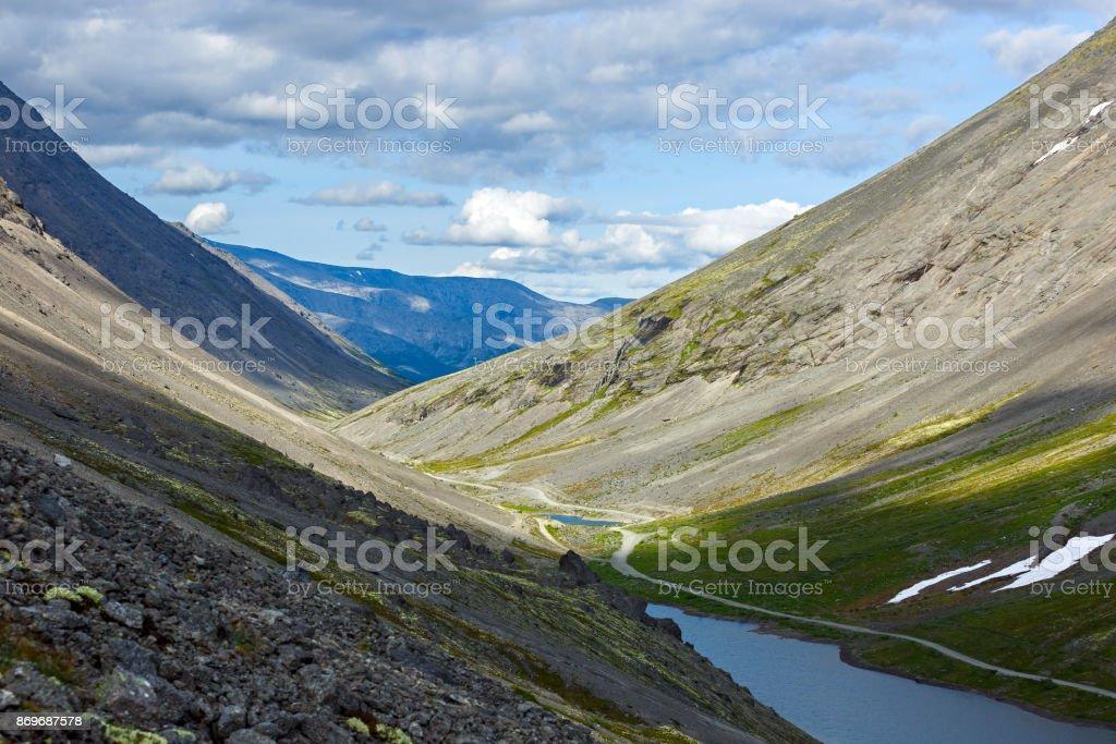 Mountain lake with clear water. Kola Peninsula , Khibiny . Russia. stock photo