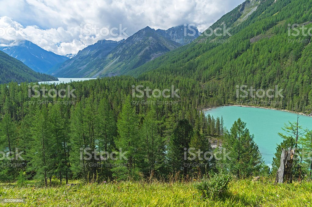 Mountain lakes. Altai Mountains, Russia. Sunny summer day. stock photo