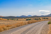 Mountain landscape. A country road passes by olive groves. In the distance, the turbines of a wind farm are visible.