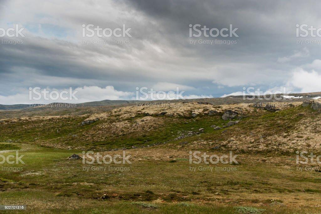 Mountain landscape along the National tourist route Aurlandstjel stock photo