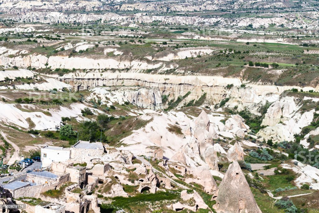 mountain landscape around Uchisar in Cappadocia - Foto stock royalty-free di Ambientazione esterna