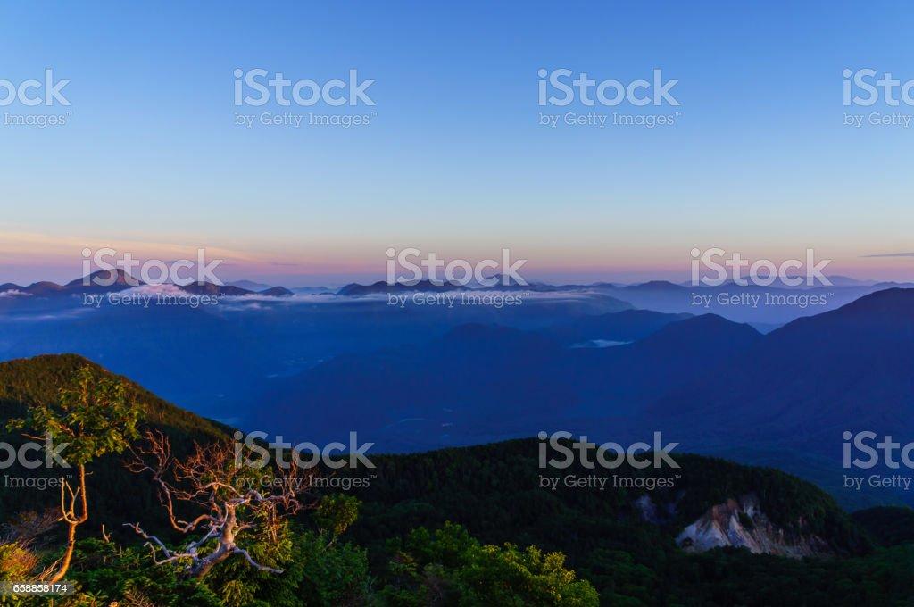 Mountain Landscape at Daybreak stock photo