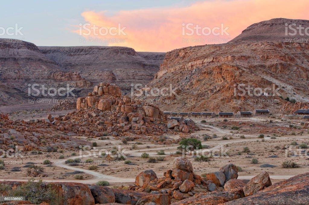 Mountain Landscape at Dusk, Namibia stock photo