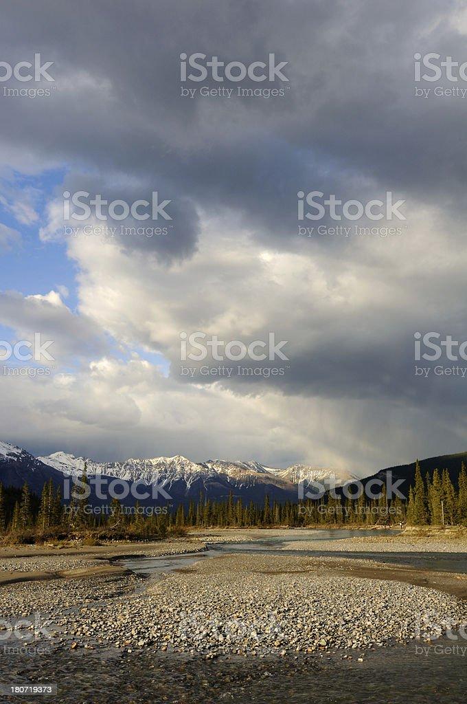 Mountain landscape at North Saskatchewan River, Canadian Rokies royalty-free stock photo